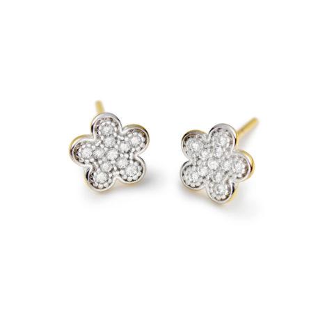 1689666 brinco flor delicada pequeno para segundo furo ou infantil todo cravejado com zirconias joia folheada ouro dourado 18k brilho folheados sabrina joias