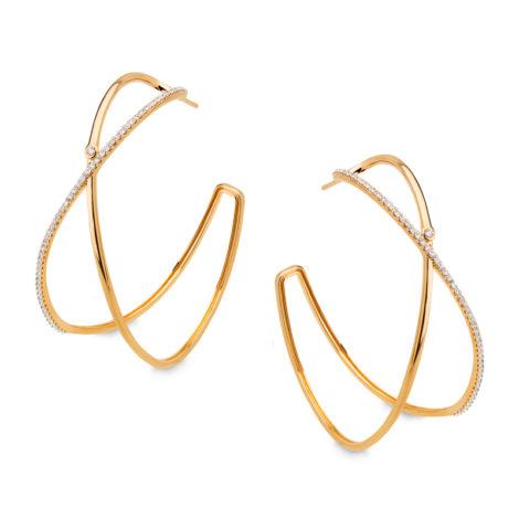 1689702 brinco argola grande dupla e cruzada com uma parte cravejada zirconias foia folheada ouro sabrina joias brilho folheados