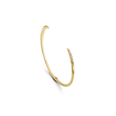 1700278 pulseira aro rigido estilo bracelete com zirconias branca joia folheada ouro dourado brilho folheados revendedora oficial da marca sabrina joias