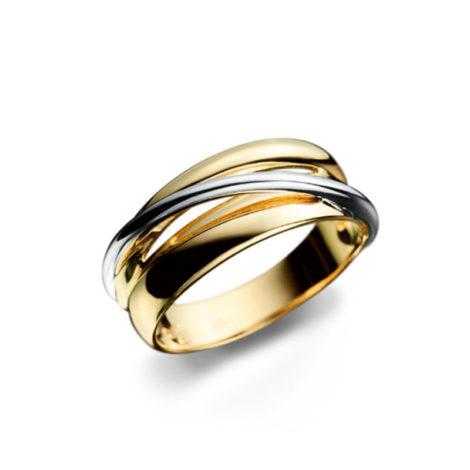 Aliança dupla dourada com fio prateado na transversal