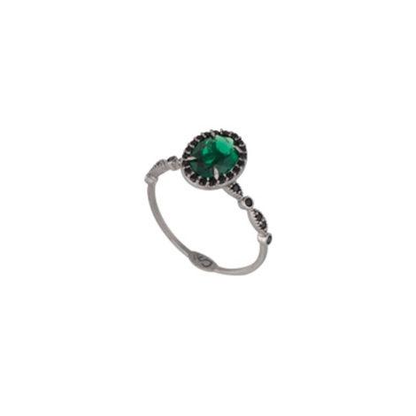 Anel cristal verde oval com zircônias pretas folheado em ródio negro