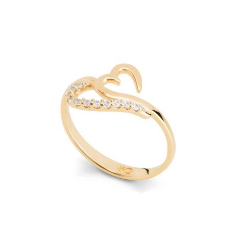 Anel coração estilizado com zircônias brancas folheado ouro