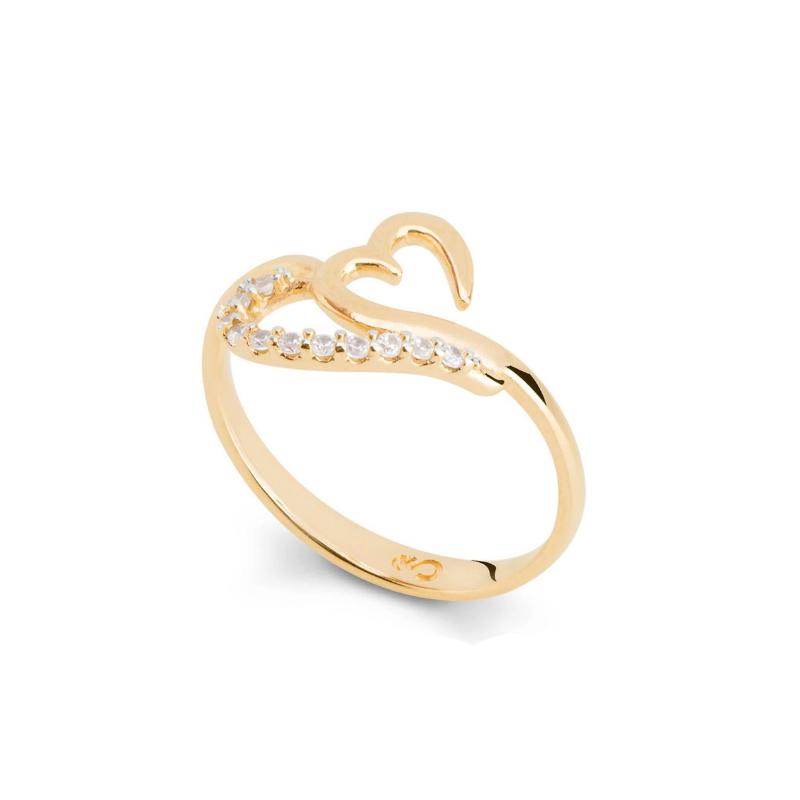 54cff91725b94 Anel coração estilizado com zircônias brancas folheado ouro