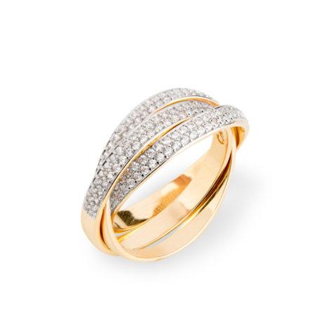 1910776 anel triplo entrelacado cravejado zirconias branca joia folheada ouro dourado 18k sabrina joias brilho folheados