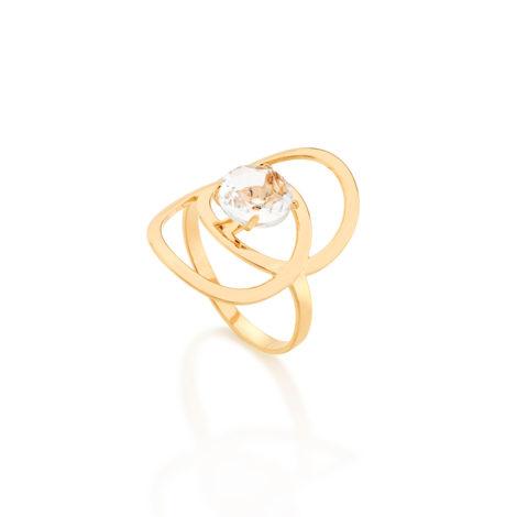 512447 maxi anel circulos vazados sobrepostos com cristal oval branco joia folheada rommanel linha basic revendedora brilho folheados