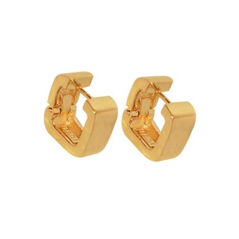 BB1743 argola quadrada folheada em ouro dourado 18k joia da fabricante bruna semijoias brilho folheados