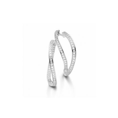 R1689124 brinco argola media ondulada cravejado com zirconias branca joia folheada em rodio prateado brilho folheados sabrina joias
