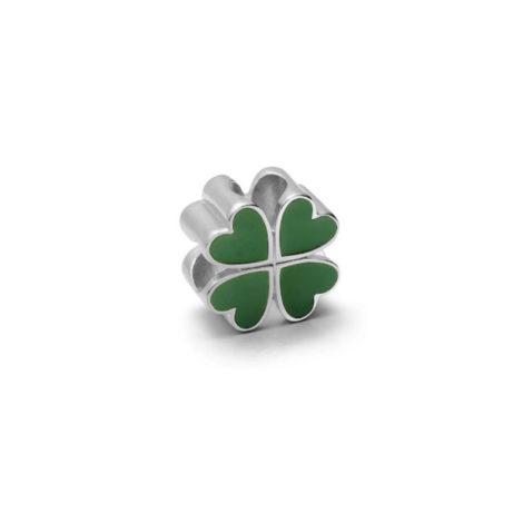Berloque trevo da sorte folhas verdes folheado em ródio prateado