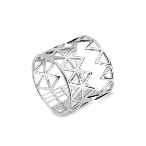 R1910721 maxi anel geometrico triangulos zig zag vazados com retangulos e quadrados folheado rodio brilho folheados sabrina joias