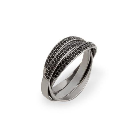 RN1910775 anel triplo um dentro do outro zirconias pretas folheado rodio negro brilho folheados revendedora oficial sabrina joias