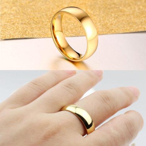 alianca aco inoxidavel dourada folheada ouro amarelo 18k foto real vendedor brilho folheados