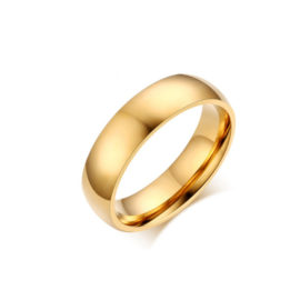 Aliança de casamento redonda aço inox folheada em ouro amarelo 18k