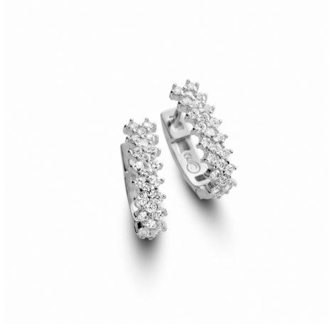 r189169 brinco argola bipartida oval tamanho pequeno com 3 fileiras de zirconias branca joia folheada rodio ouro branco prateado sabrina joias brilho folheados