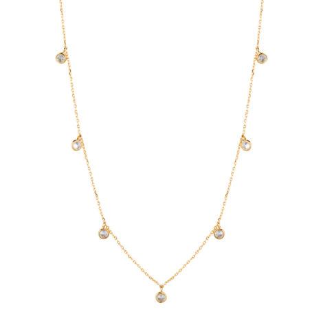 Colar 7 mini cristais brancos joia folheada em ouro 50 cm