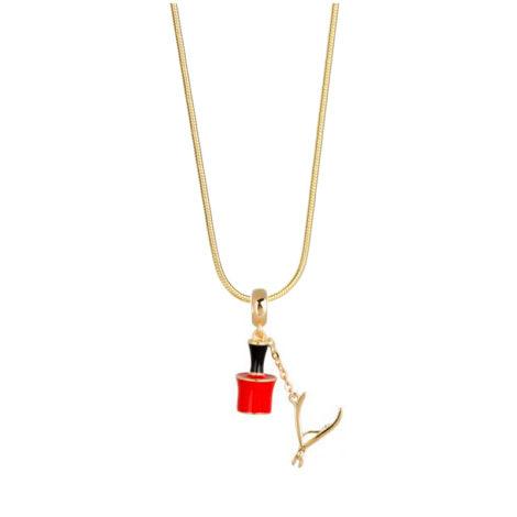 243E45 1800552 colar feminino com pingente para manicure ou mulheres que gostam de pintar as unhas potinho esmalte vermelho com alicate de unha de metal dourado brilho