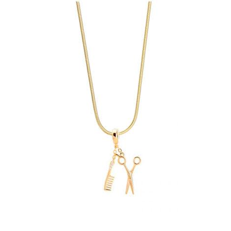 243e45 1800548 colar feminino tesoura e pente com zirconias folheado ouro dourado 18k sabrina joias brilho folheados