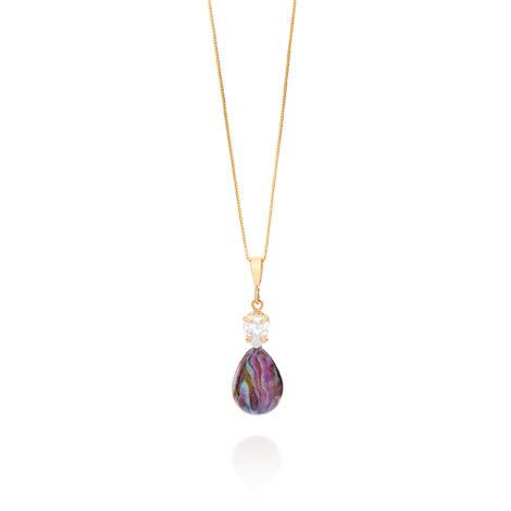 542033 colar corrente veneziana com pingente gota zirconia e gota sintetica mesclada cabuchão brilho folheados rommanel flower power
