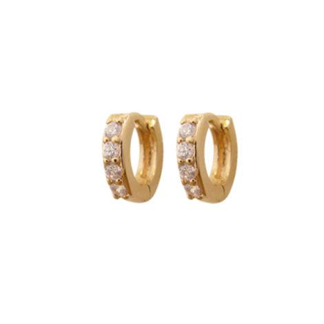 BB2577 brinco argola mini cravejada com zirconias brancas joia folheada ouro dourado 18k bruna semijoias brilho folheados
