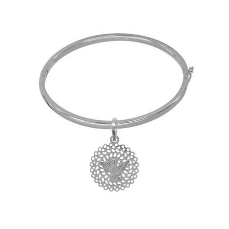 BP0111 MB1107 bracelete bipartido com medalha divino espirito santo joia folheada rodio ouro branco prateado brilho folheados bruna semijoias