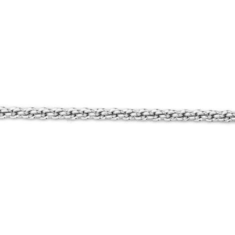 Corrente trançada espessura média folheada em ródio 50 cm