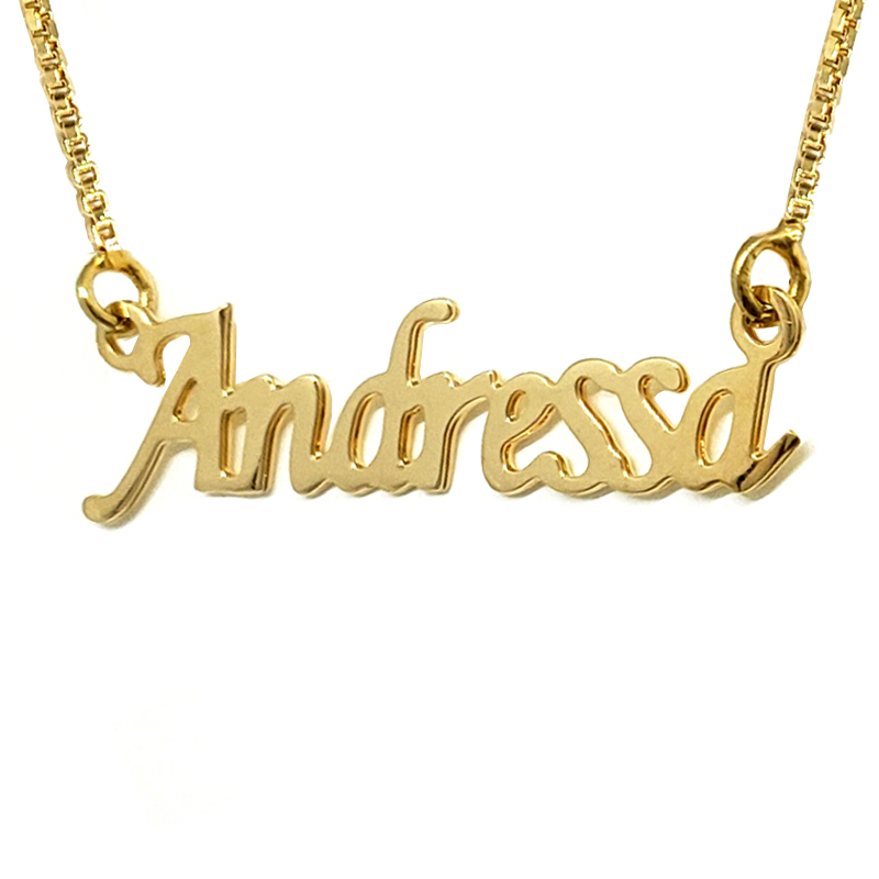a874d5dee6382 Colar nome personalizado joia folheada em ouro 18k Brilho Folheados