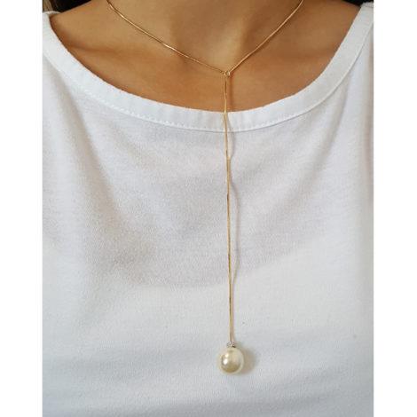 colar gravatinha perola grande folheado ouro 18 sabrina joias brilho folheados