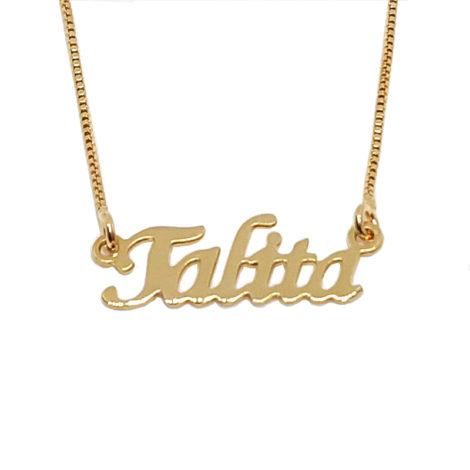 colar nome talita joia personalizada com 45cm de comprimento joia folheada ouro dourado 18k brilho folheados