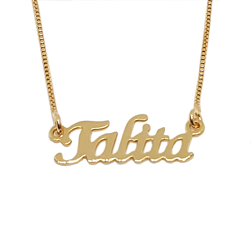 Colar nome personalizado joia folheada em ouro 18k Brilho Folheados ba567c0245