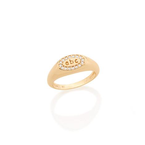 512479 anel formatura infantil aro largo base oval com letras abc 16 pedras de zirconias brancas joia folheada ouro amarelo 18k kids collection brilho folheados