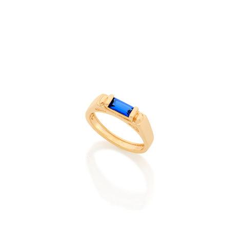 512485 anel formatura infantil menino pedra zirconia baguete cor azul joia folheada rommanel brilho folheados kids collection