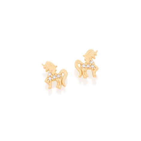 525920 brinco unicornio com pedra zirconia branca joia folheada ouro dourado antialergico rommanel brilho folheados