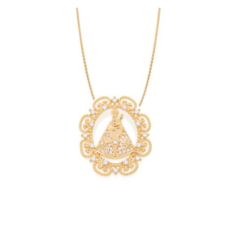 531626 542064 colar corrente feminina com pingente medalha sirio de nazare zirconias brancas joia folheada rommanel brilho folheados