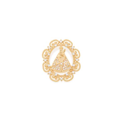 542064 colar mandala oval com bordas trabalhadas sirio de nazare com zirconias brancas brilho folheados joia rommanel