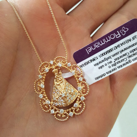 colar com pingente sirio de nazare joia rommanel folheada ouro 18k brilho folheados sabrina joias