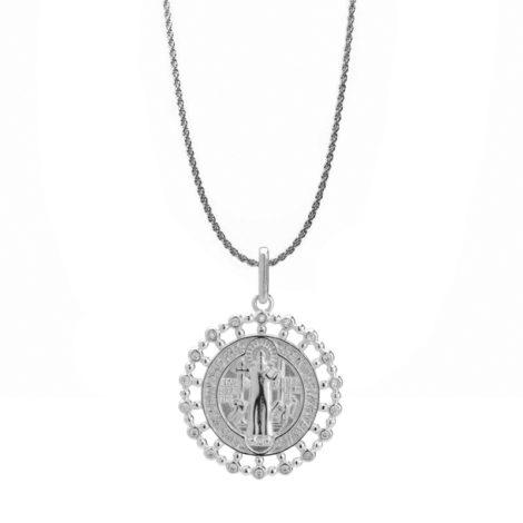 corrente feminina trancada grossa com medalha de sao bento zirconias brancas joia folheada rodio sabrina joias brilho folheados