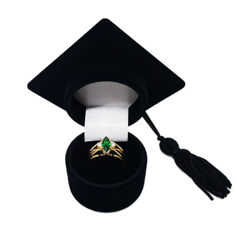 1910672 anel formatura cristal formato navete verde esmeralda com caixa chapeu formatura folheado ouro dourado brilho folheados