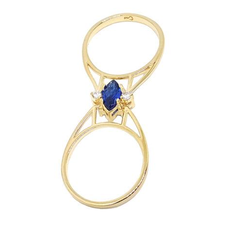 1910672 anel formatura transformavel 2 em 1 pedra azul folheado ouro brilho folheados