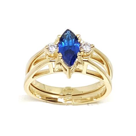 1910672 formatura cristal azul navete joia folheada ouro amarelo 18k brilho folheados sabrina joias