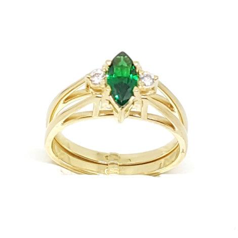 1910672 pedra cristal verde esmeralda com outro lado de pedra branco cristal joia folheada ouro dourado brilho folheados sabrina joias