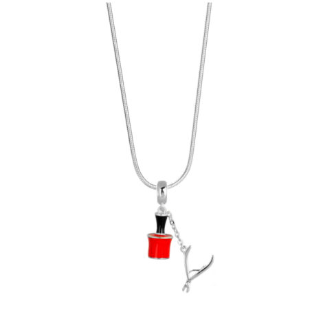 243E45 1800552 colar feminino com pingente para manicure ou mulheres que gostam de pintar as unhas potinho esmalte vermelho com alicate de unha de metal prateadpo brilho