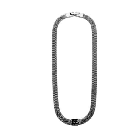 RN1900381 choker elos vazados para pescoco fino com pingente caixa de joia cravejado com zirconias pretas folheado rodio negro brilho folheados sabrina joias