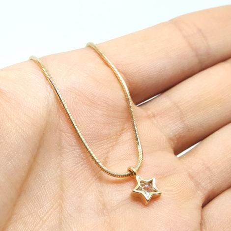 1717600 tornozeleira corrente rabo de rato pingente estrela de zirconia joia folheada ouro 18k brilho folheados sabrina joias