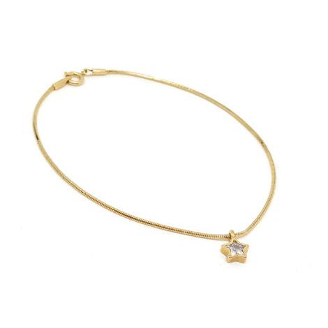 1717600 tornozeleira fio rabo de rato com pingente estrela joia folheada ouro 18k sabrina joias brilho folheados