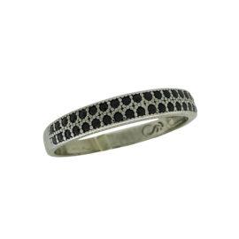 RN1910876 anel 2 fileiras zirconia preta folheado rodio negro sabrina joias brilho folheados