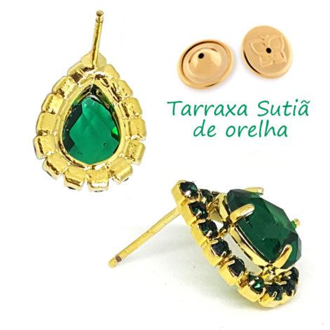 brinco cristal gota pedra verde com borda em strass verde folheado ouro 18k brilho folheados tarraxa sutia de orellha