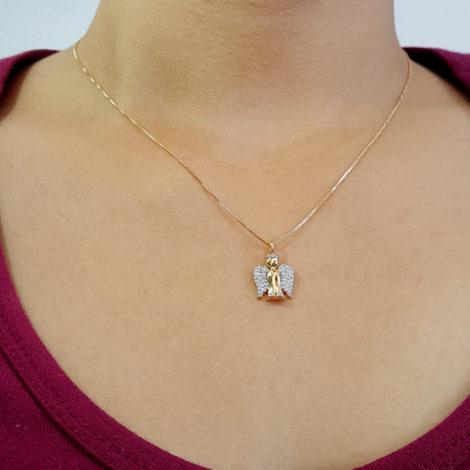 colar anjo da guarda folheado a ouro 18k sabrina joias brilho folheados