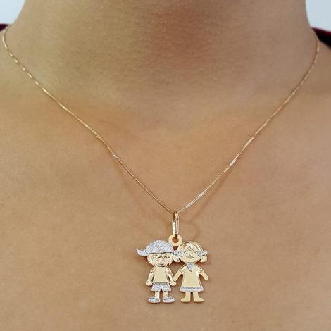 colar casal filhos com detalhe em ouro branco rodio joia folheada a ouro 18k brilho folheados foto modelo