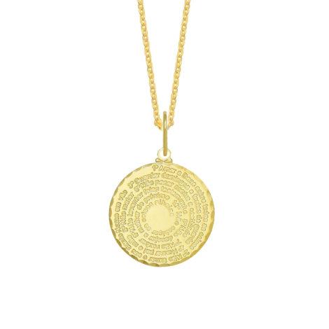 colar com medalha oval dos 10 mandamentos de jesus folheado a ouro 8k brilho folheados