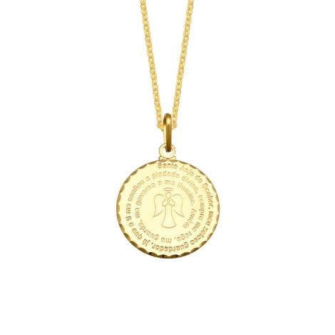 colar feminino com medalha oracao santo anjo do senhor com desenho de anjo no centro joia folheada ouro 18k 1