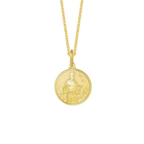 colar feminino medalha com imagem de sao francisco de assis joia folheada ouro loja brilho folheados